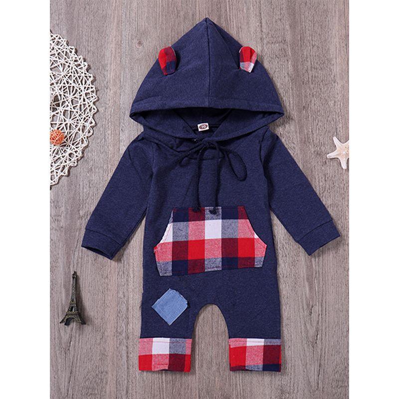 Kiskissing Royalblue Red Plaid Hoodie Baby Onesies Romper Cotton Jumpsuit the obverse side wholesale baby onesies