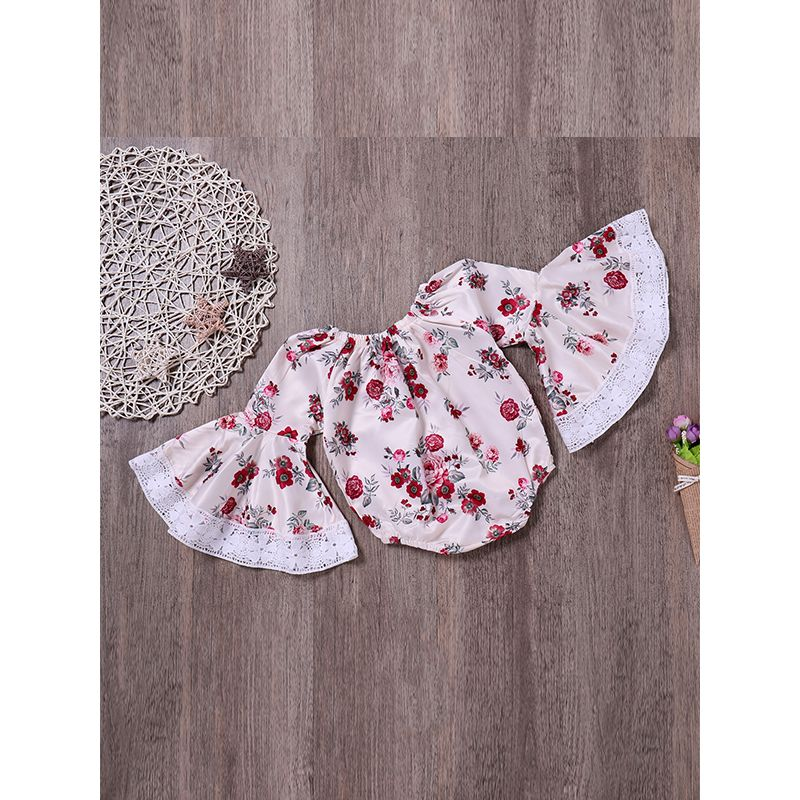 Kiskissing Floral Bell Sleeves Baby Tops Woven Fabric White Blouse For Babies Girls wholesale baby onesies