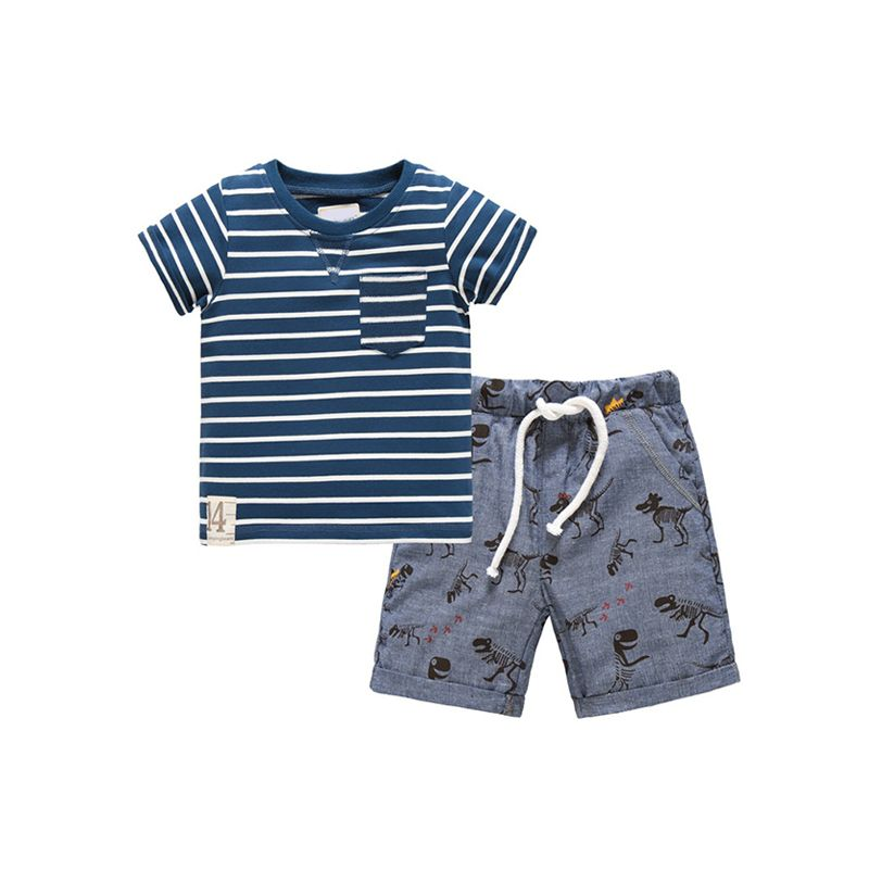 Kiskissing 2-piece Striped Cotton Tee Shorts Set for Boys Short-sleeve T-shirt Top wholesale children's boutique clothing