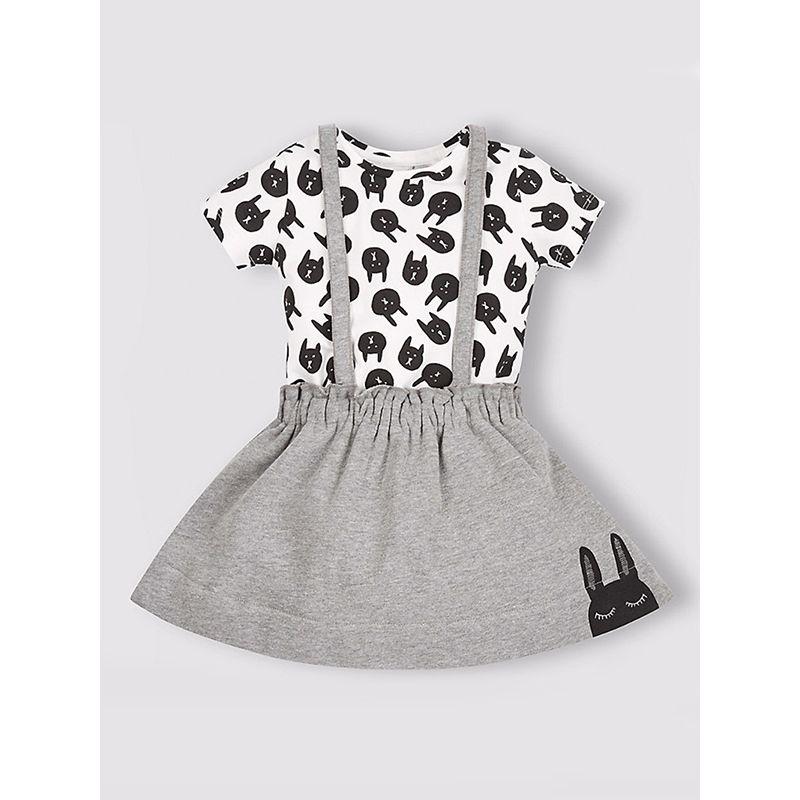 Kiskissing 2-piece Girls Bear Print Tee Skirt Cotton Set Short-Sleeve Top Strapped Skirt wholesale toddler dresses
