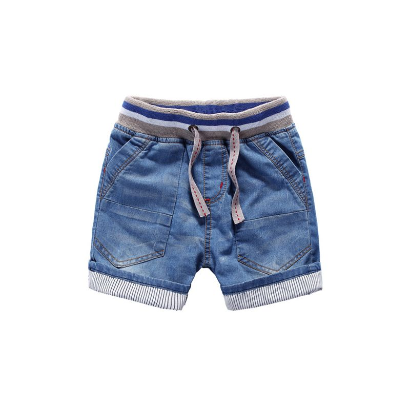 Kiskissing Soft Denim Shorts Adjustable Belt for Toddlers Boys the obverse side wholesale kids boutique clothing