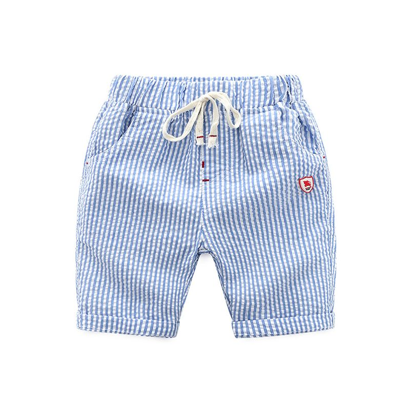 Striped Embroidery Beach Shorts Cotton Adjustable Belt for Toddlers Boys
