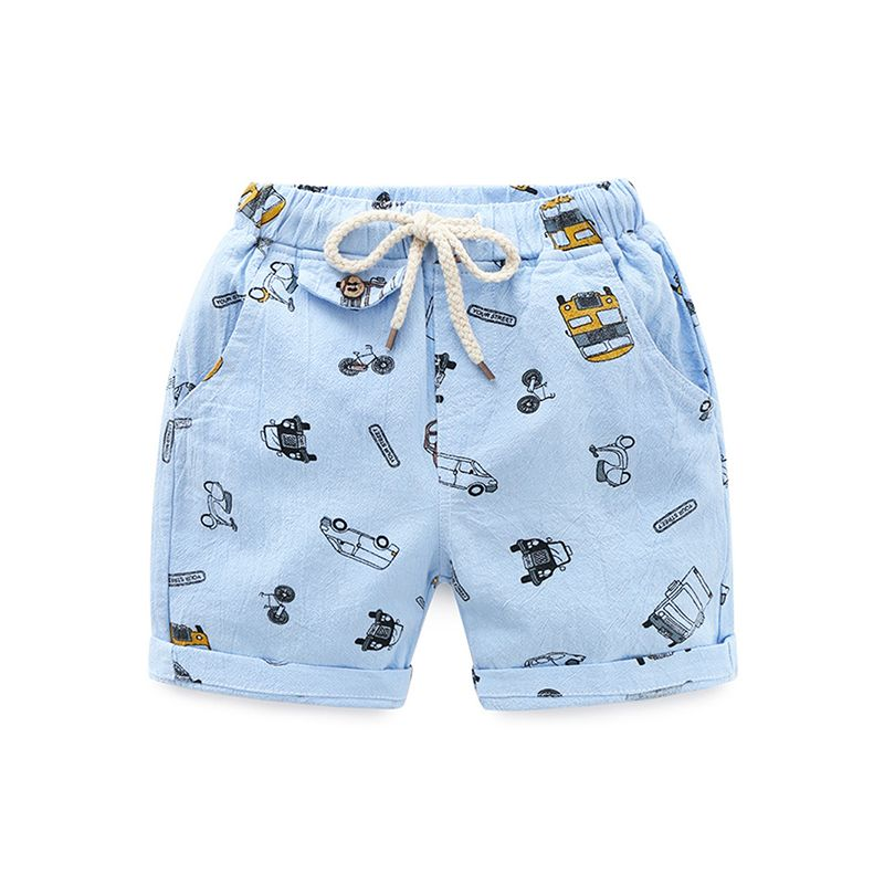 Cool Cars Print Beach Shorts Cotton Adjustable Belt for Toddlers Boys