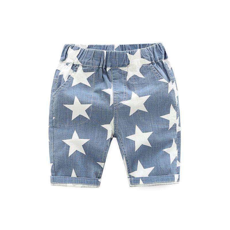 Cool Stars Print Beach Shorts Cotton Elastic Hidden Belt for Toddlers Boys
