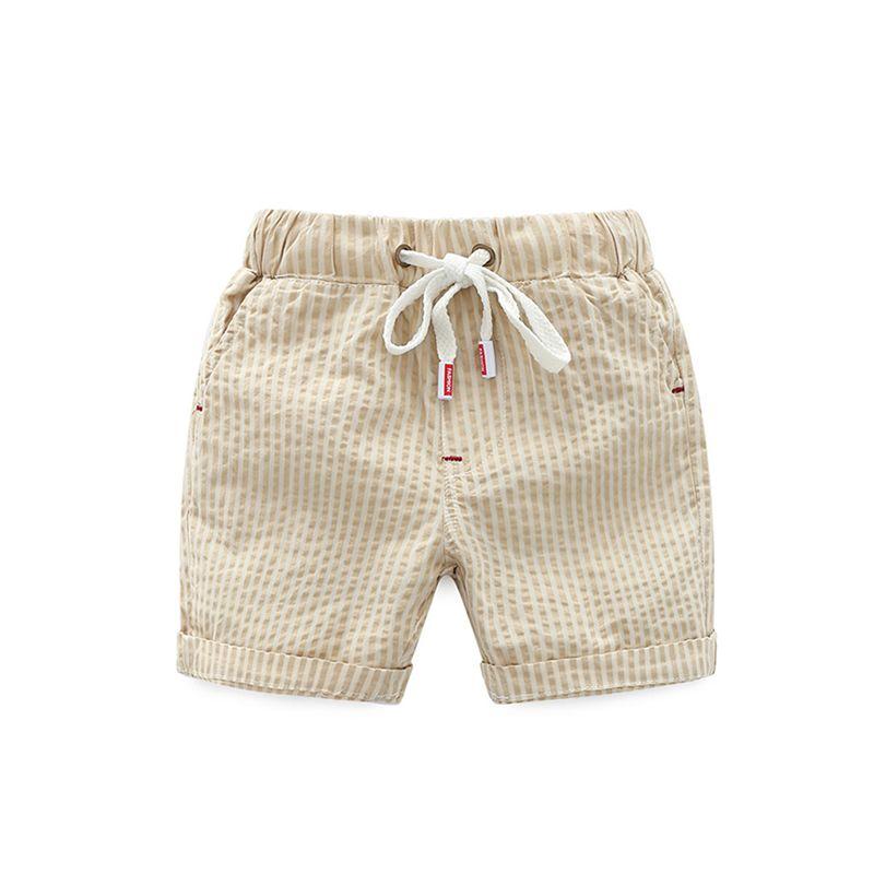 Khaki Striped Beach Shorts Soft Cotton Adjustable Belt for Boys