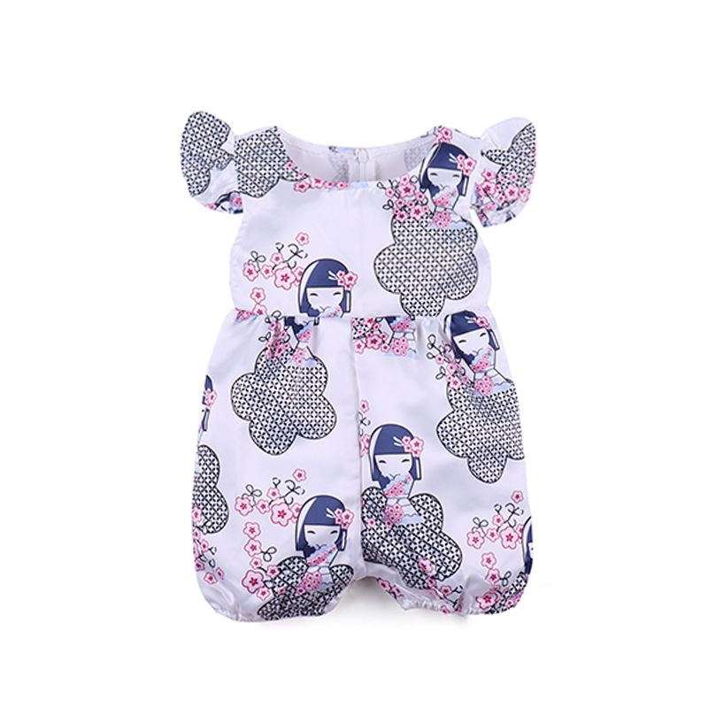 Kiskissing Cute Girl Pink Flowers Printed Romper Jumpsuit For Baby Girls the obverse side toddler girl wholesale clothing