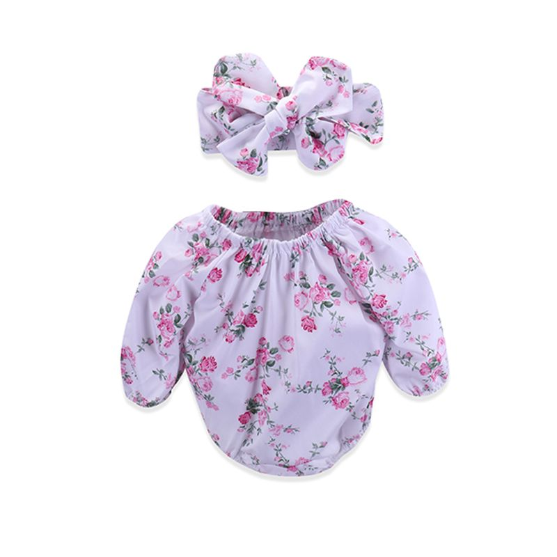 Kiskissing 2-piece Headband Romper Baby Set Bowknot Hairband Floral Printed Bodysuit For Babies Girls wholesale toddler clothing suppliers