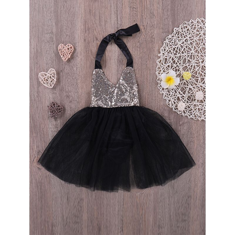 Kiskissing Bowknot Strapped Sequins Princess Dress Tulle Black For Baby Girls wholesale princess dresses the obverse side