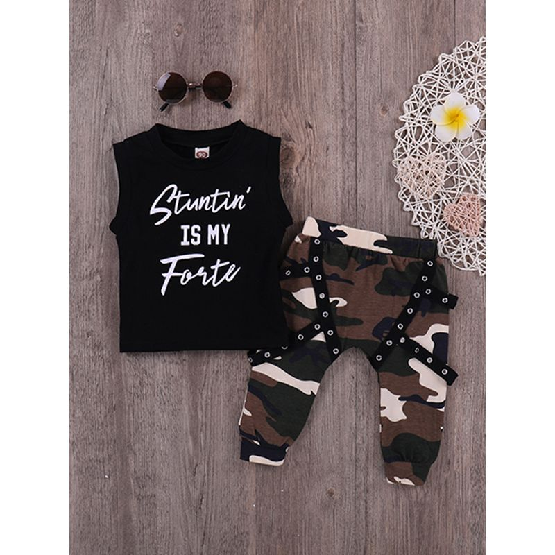 Kiskissing 2-piece T Shirt Pants Baby Set Black Letter Print Tees Camouflage Trousers For Babies Toddlers wholesale little girl clothing