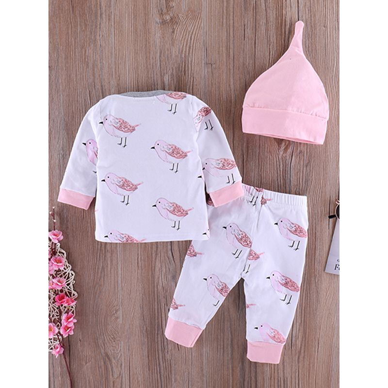 Kiskissing 3-piece Hat Top Pants Baby Set Pink Pointed Hat Bird Printed Long Sleeves Tees Long Pants For Baby Boys Girls trendy toddler clothes wholesale