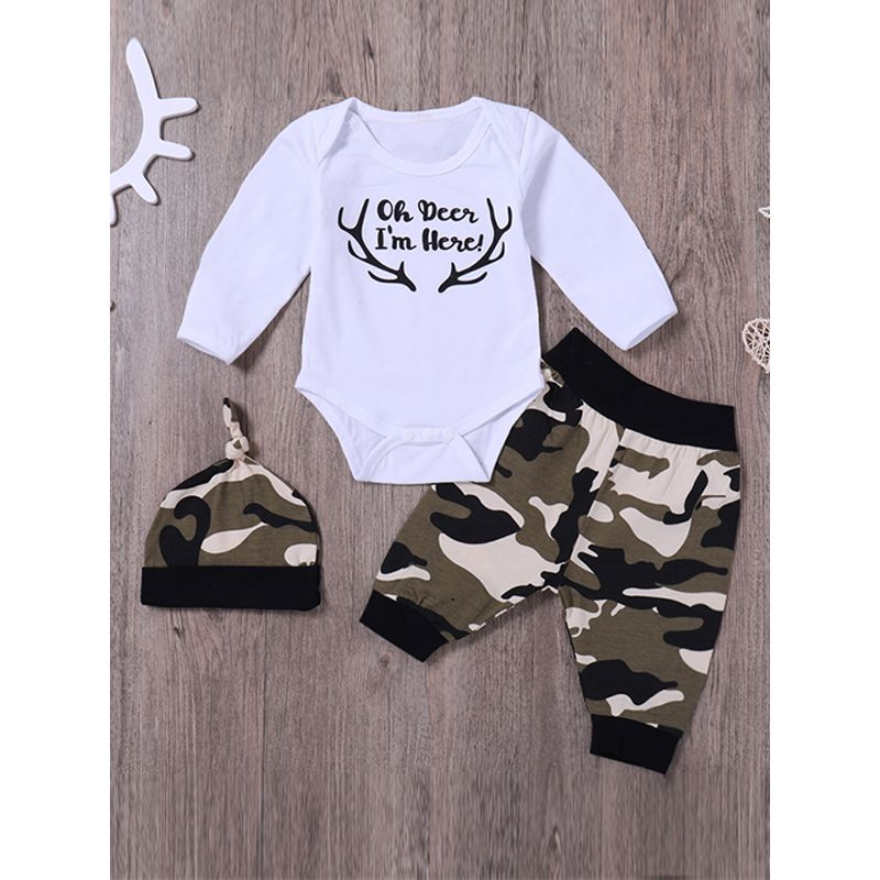 Kiskissing 3-piece Hat Romper Pants Baby Set Letters Printed Deer Horns Camouflage Hat Trousers For Baby Boys Girls the obverse side kids wholesale clothing