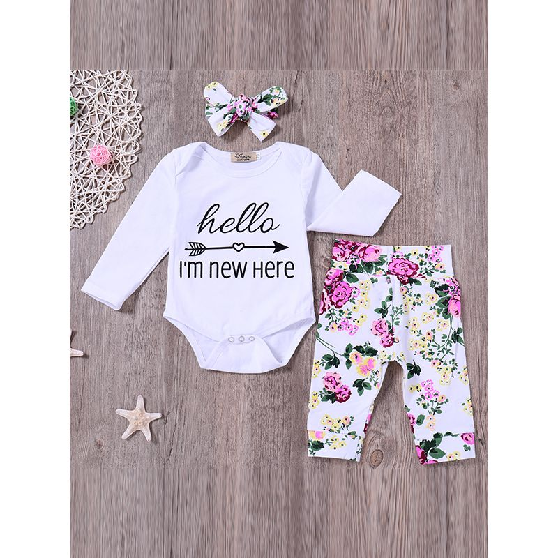 Kiskissing 3-piece Headband Romper Pants Baby Set Bowknot Hairband Letters Arrow Print Top Floral Printed Trousers For Babies wholesale baby clothes the obverse side