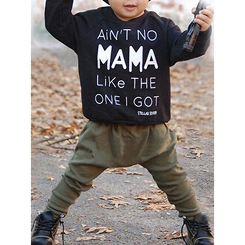Kiskissing 2-piece Top Pants Baby Set Letters Print Black Long Sleeves Tees Green Trousers For Baby Boys wholesale children's boutique clothing