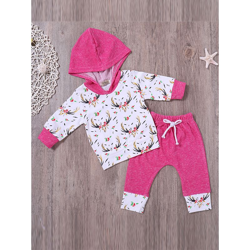 2-piece Top Pants Baby Set Phoenix Printed Long Sleeves Hoodie Tees Long Pants For Baby Girls