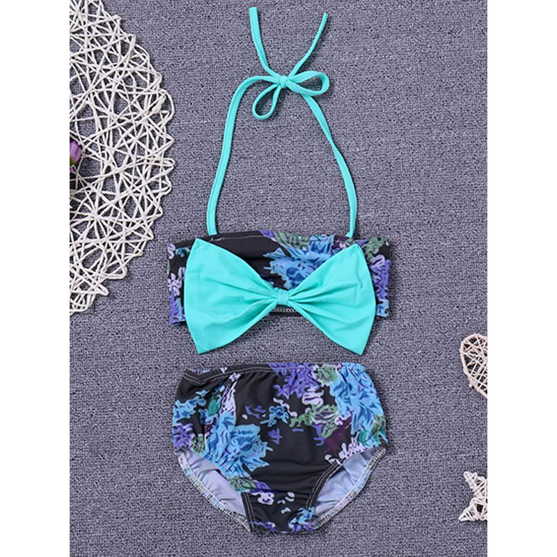 2-piece Baby Swimsuit Set Green Bowknot Floral Print Top Panties For Baby Girls