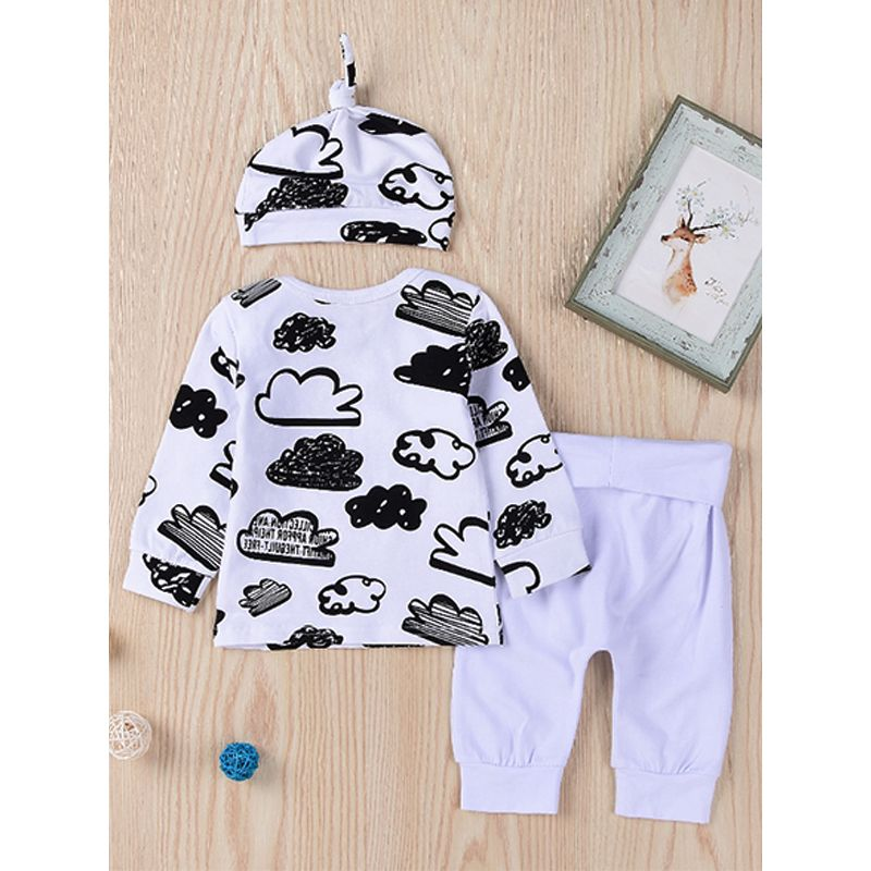 Kiskissing 3-piece Hat Tops Pants Baby Set Cute Clouds Doodle Print Tees White Trousers For Babies the reverse side wholesale boys clothing