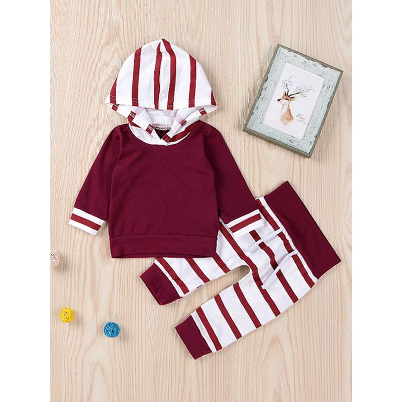 Kiskissing 2-piece Hoodie Pants Baby Set Stripes Red Hoodie Top Red and White Vertical Stripes Trousers For Babies kids wholesale clothing the obverse side