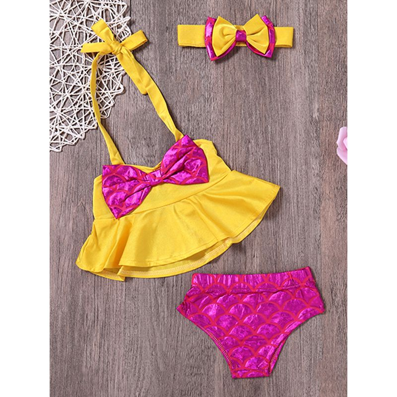 Kiskissing 3-piece Handband Top Panties Baby Swimsuit Set Bowknot Hairband Bow Yellow Top Fish Scales Panties For Baby Girls the obverse side wholesale kids swimwear
