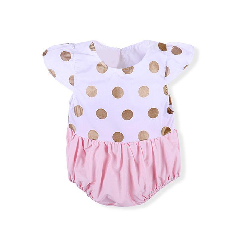 Kiskissing Golden Polka Dots Splicing Baby Girls Onesies Romper Bodysuit wholesale baby onesies the obverse side