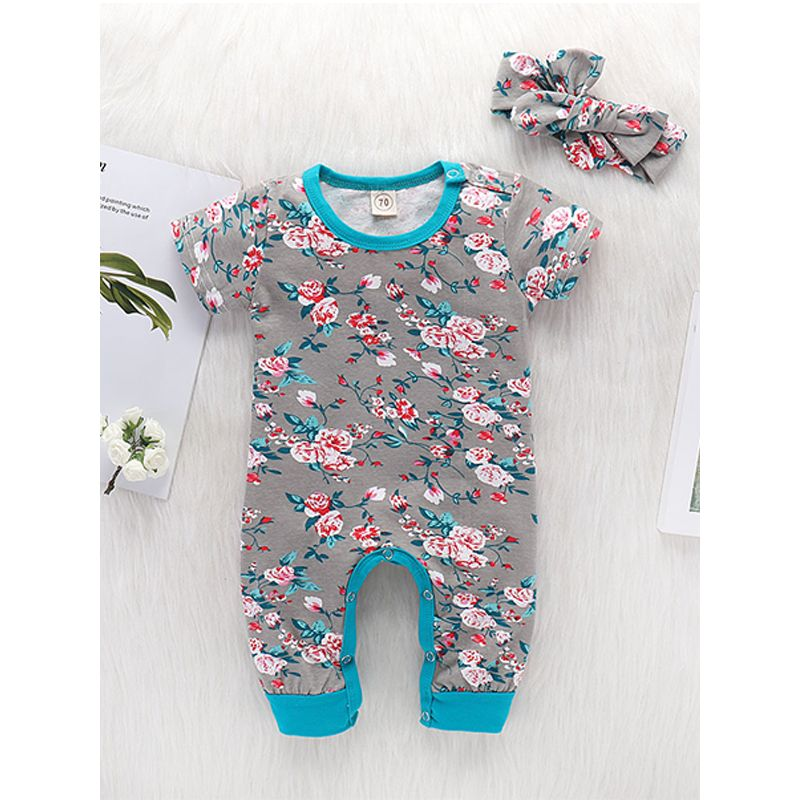 Kiskissing 2-piece Floral Headband Romper Baby Set Bowknot Hairband Flowers Printed Jumpsuit For Babies the obverse side wholesale baby onesies