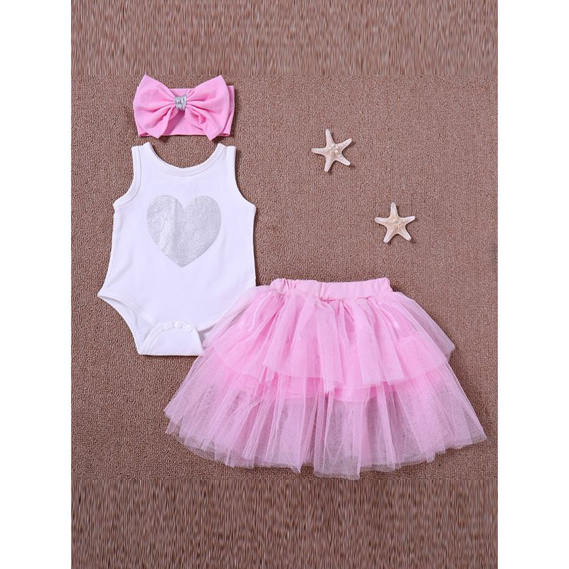 Kiskissing 3-piece Headband Romper Skirt Baby Set Bow Hairband Heart Printed Bodysuit Pink Tulle Skirt For Baby Girls wholesale kids boutique clothing the obverse side
