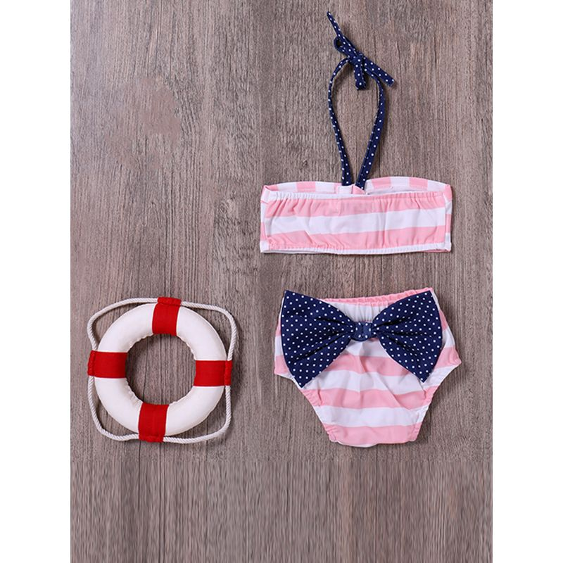 Kiskissing 2-piece Baby Swimsuit Set Bowknot Pink And White Stripes Tops Panties toddler girl wholesale clothing the obverse side