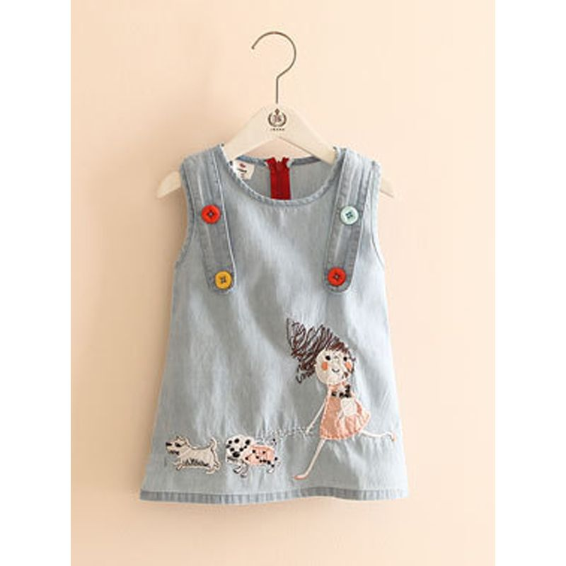 Kiskissing Thin Denim Embroidered Dress Sleeveless  for Toddlers Girls the obverse side trendy kids wholesale clothing