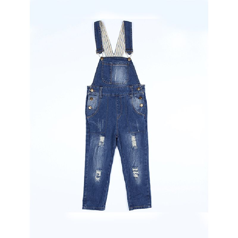 Kiskissing Denim Strapped Overalls Jumpsuit  for Toddlers Girls Boys wholesale toddler boutique clothing