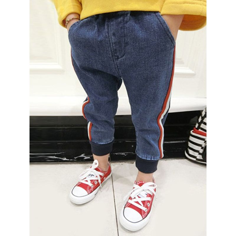Kiskissing Red Stripes Denim Pants Jeans Trousers for Baby Toddler Boys Girls wholesale baby pants