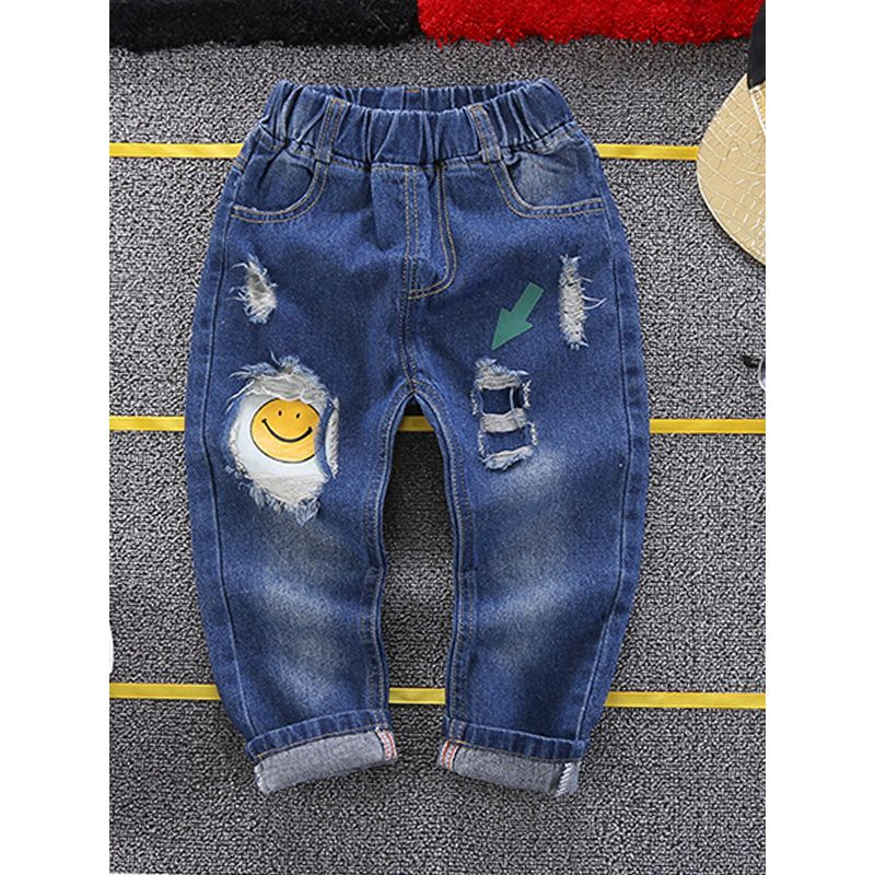 Kiskissing Cool Ripped Jeans Smile Face Print Denim Pants Trousers for Toddlers Boys wholesale toddler pants