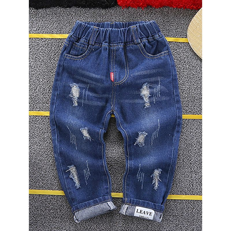 Kiskissing Cool Ripped Jeans Denim Pants Trousers for Toddlers Boys the obverse side wholesale childrens clothing