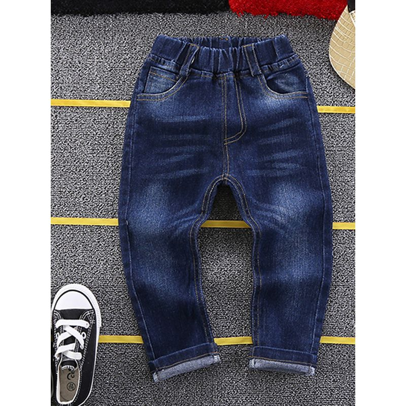 Kiskissing Deepblue Jeans Denim Yellow-line Pants Trousers for Toddlers Boys Girls the obverse side wholesale girls clothing