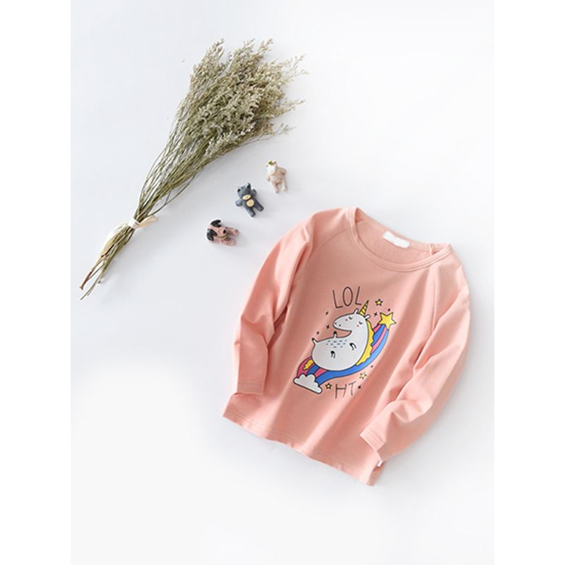 Kiskissing pink Cute Cartoon Unicorn Cotton Top Sweatshirt  Long-sleeve for Toddlers Girls trendy toddler clothes wholesale the obverse side