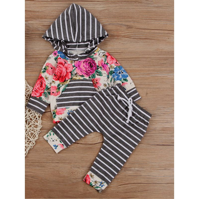 Kiskissing 2-piece Stripes Baby Set Floral Hoodie Top Grey Striped Pants For Baby Boys Girls wholesale toddler clothing suppliers the obverse side