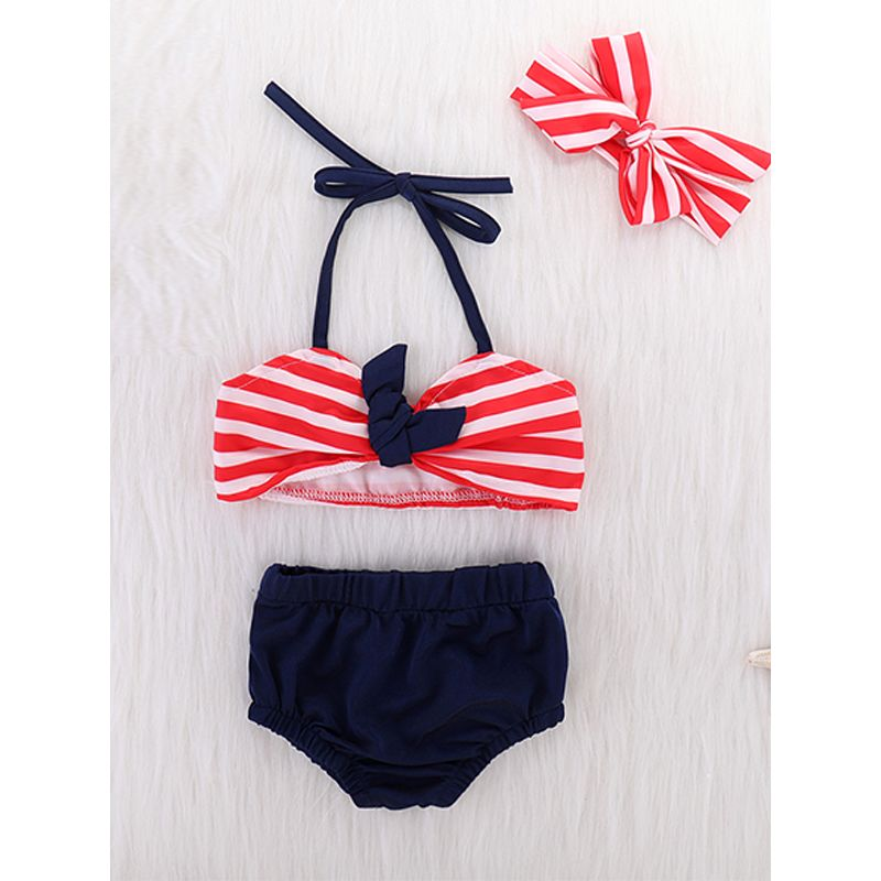 Kiskissing 3-piece Headband Top Panties Swimsuit Set Bow Hairband Red Stripes Top Swimwear For Baby Girls wholesale baby swimwear