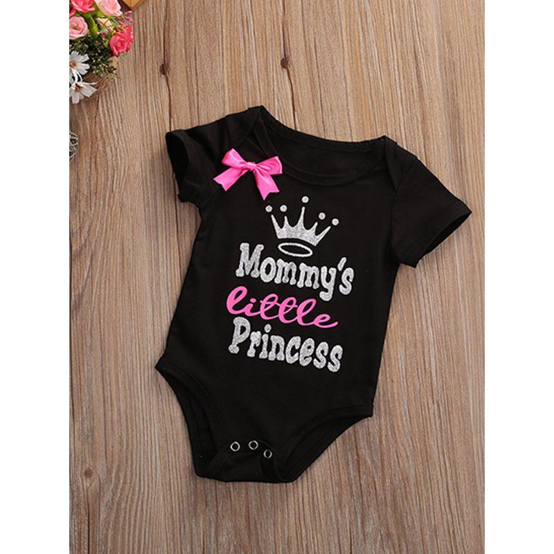 Short Sleeves Baby Romper Cartoon Crown Letters Printed Bowknot Bodysuit For Babies