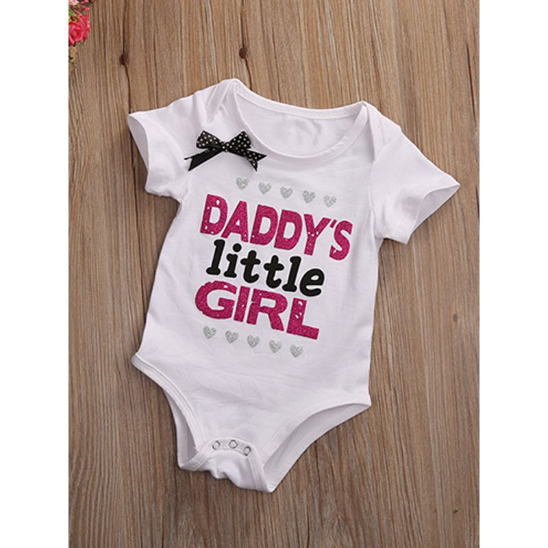 Short Sleeves White Baby Romper Crown Letters Printed Bowknot Bodysuit For Babies