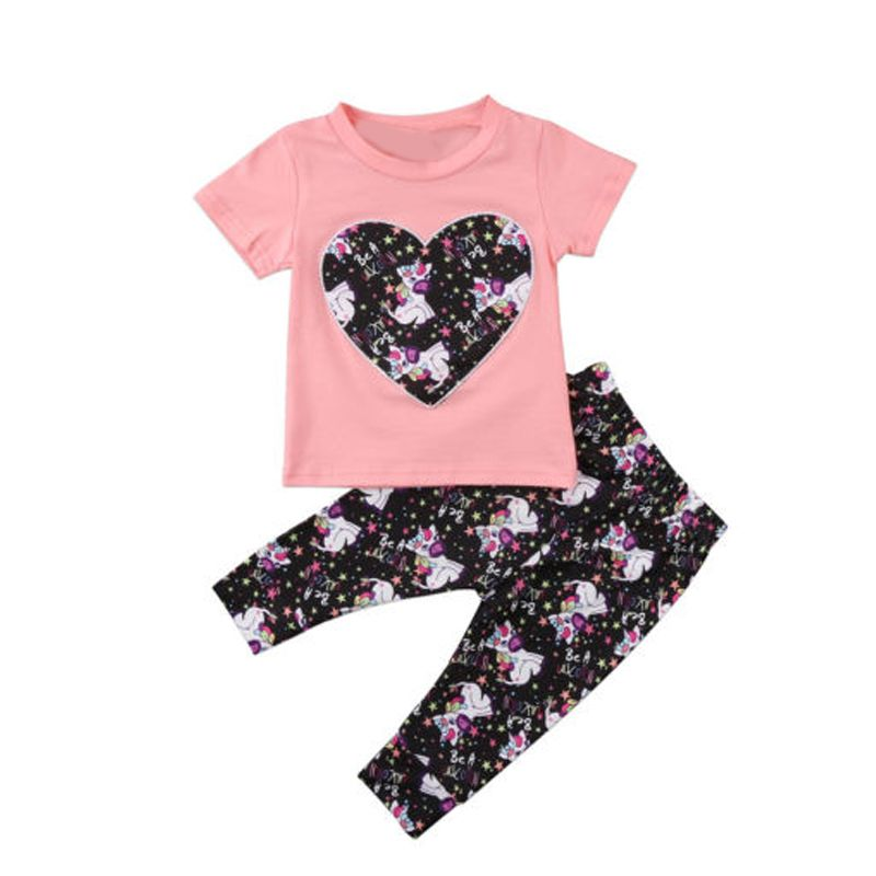 2-piece Top Pants Baby Set Pink Heart Print Tees Unicorn Stars Printed Trousers For Babies