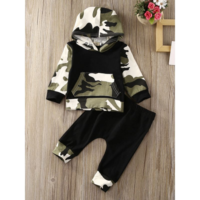 2-piece Top Pants Baby Set Long Sleeves Camouflage Hoodie Jacket Black Trousers For Babies