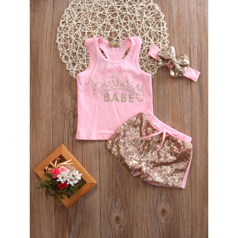 3-piece Headband Top Shorts Baby Set Bow Hairband Pink Letters Print Tees Cording Sequins Shorts For Baby Girls