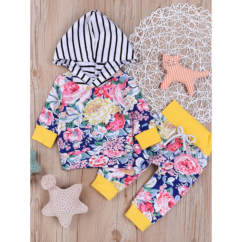 Kiskissing 2-piece Top Pants Baby Set Floral Striped Hoodie Top Long Trousers For Baby Boys Girls wholesale baby clothes the obverse side