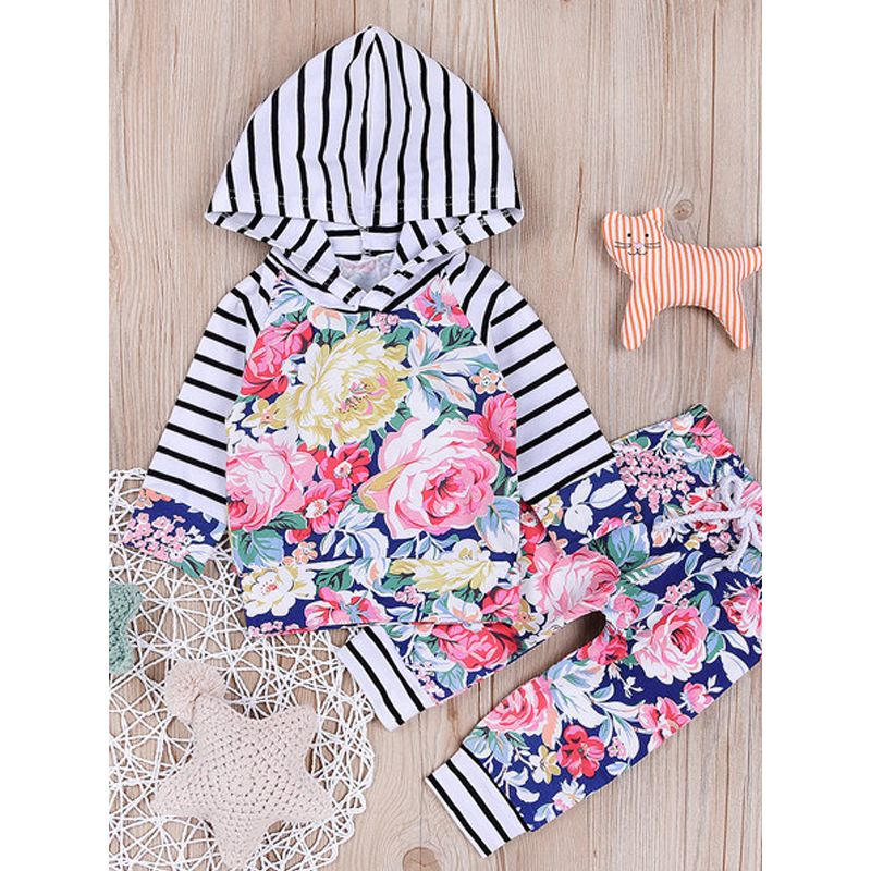 Kiskissing 2-piece Hoodie Pants Baby Set Flowers Striped Top Long Trousers For Baby Boys Girls the obverse side kids wholesale clothing