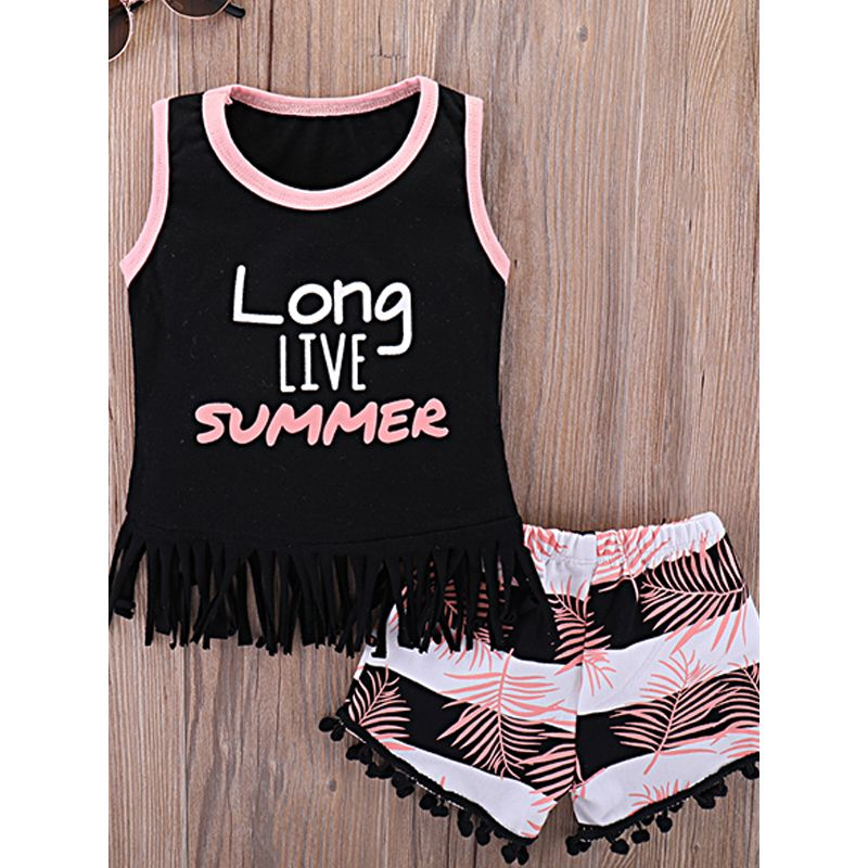 Kiskissing 2-piece Top Shorts Baby Set Letters Printed Tassels Sleeveless T-shirt Striped Leaves Print Shorts For Baby Girls the obverse side wholesale baby clothes