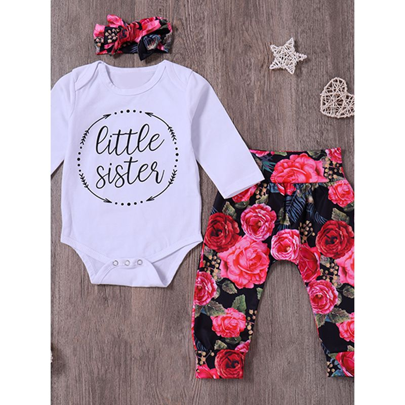 Kiskissing 3-piece Headband Top Pants Baby Set Bow Hairband Letters Print White Romper Floral Trousers wholesale kids clothing suppliers the obverse side