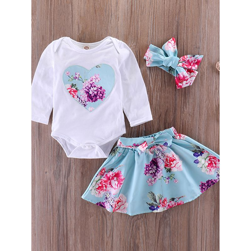 Kiskissing 3-piece Headband Romper Skirt Baby Set Bow Hairband Heart Print White Bodysuit Floral Skirt For Baby Girls the obverse side kids clothing wholesale suppliers