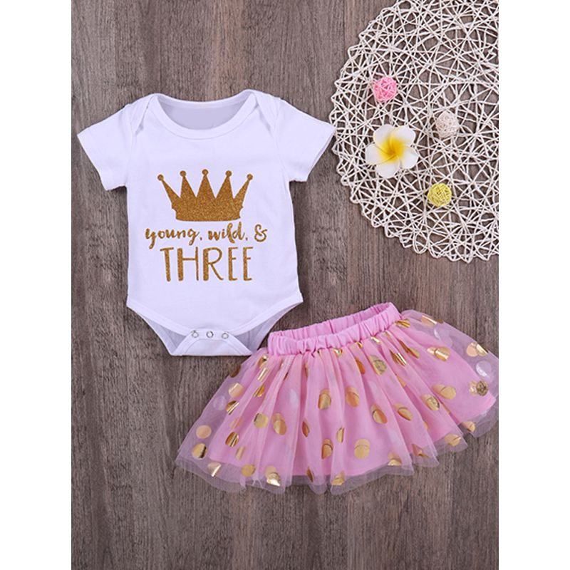 Kiskissing 2-piece Romper Skirt Baby Set Crown Letters Print White Bodysuit Golden Dots Tulle Skirt For Baby Girls the obverse side wholesale baby clothes suppliers