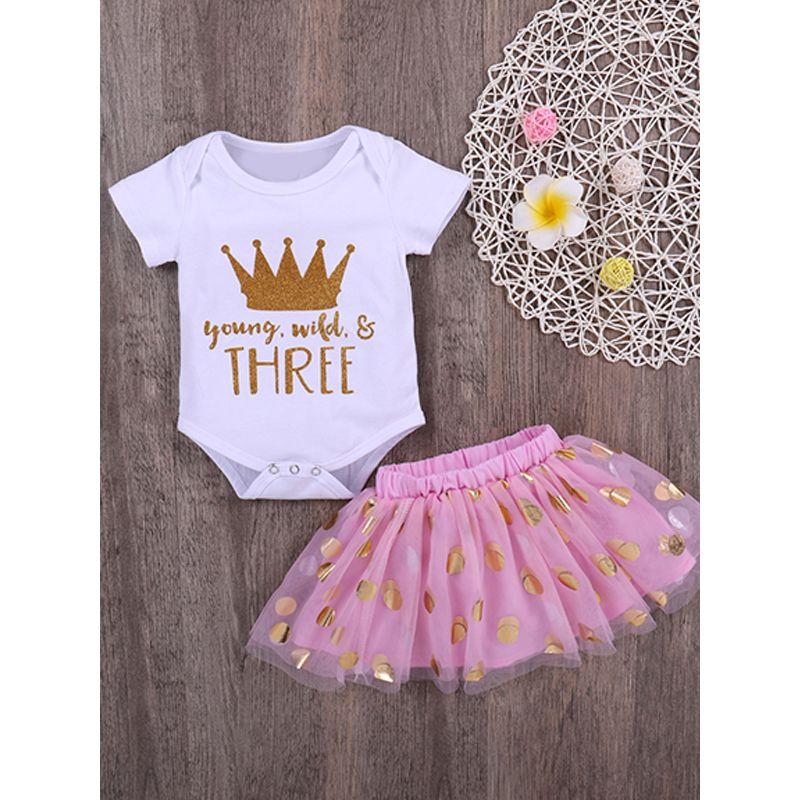 8f7c49849ed0 Kiskissing 2-piece Romper Skirt Baby Set Crown Letters Print White Bodysuit  Golden Dots Tulle