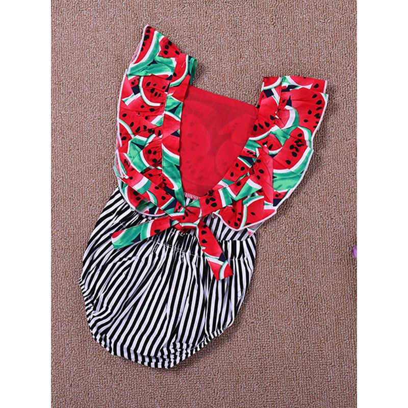 Kiskissing Watermelon Printed Striped Baby Romper Bodysuit wholesale baby onesies the obverse side
