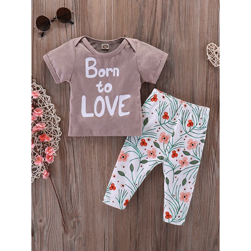 Kiskissing 2-piece Top Pants Baby Set Letters Print T Shirt Floral Trousers For Babies the obverse side wholesale little girl clothing