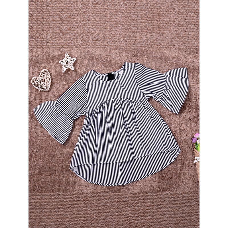 Kiskissing Trumpet Sleeves Grey Striped Baby Dress the obverse side wholesale baby clothes